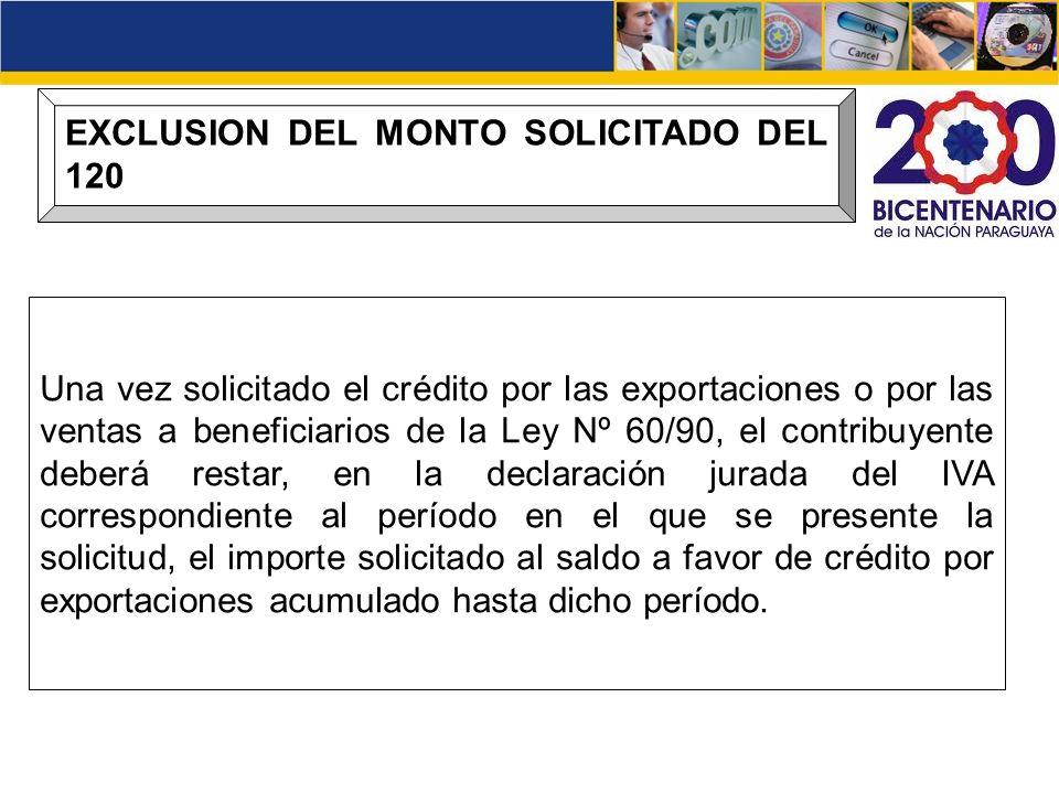 EXCLUSION DEL MONTO SOLICITADO DEL 120