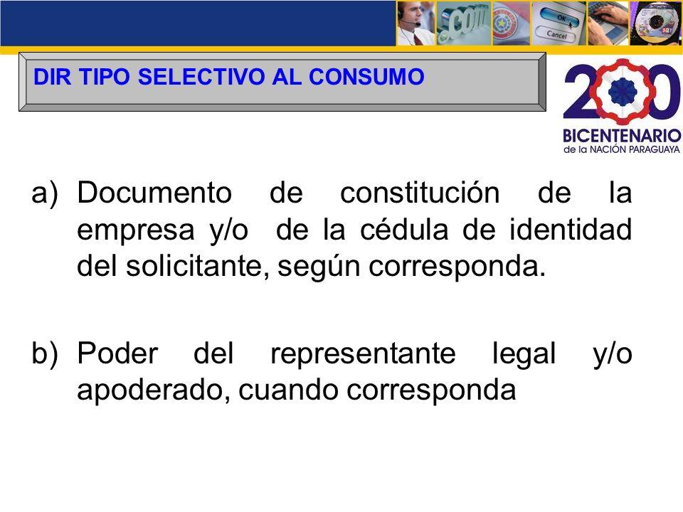 Poder del representante legal y/o apoderado, cuando corresponda