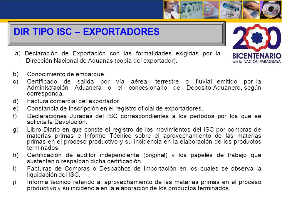 DIR TIPO ISC – EXPORTADORES