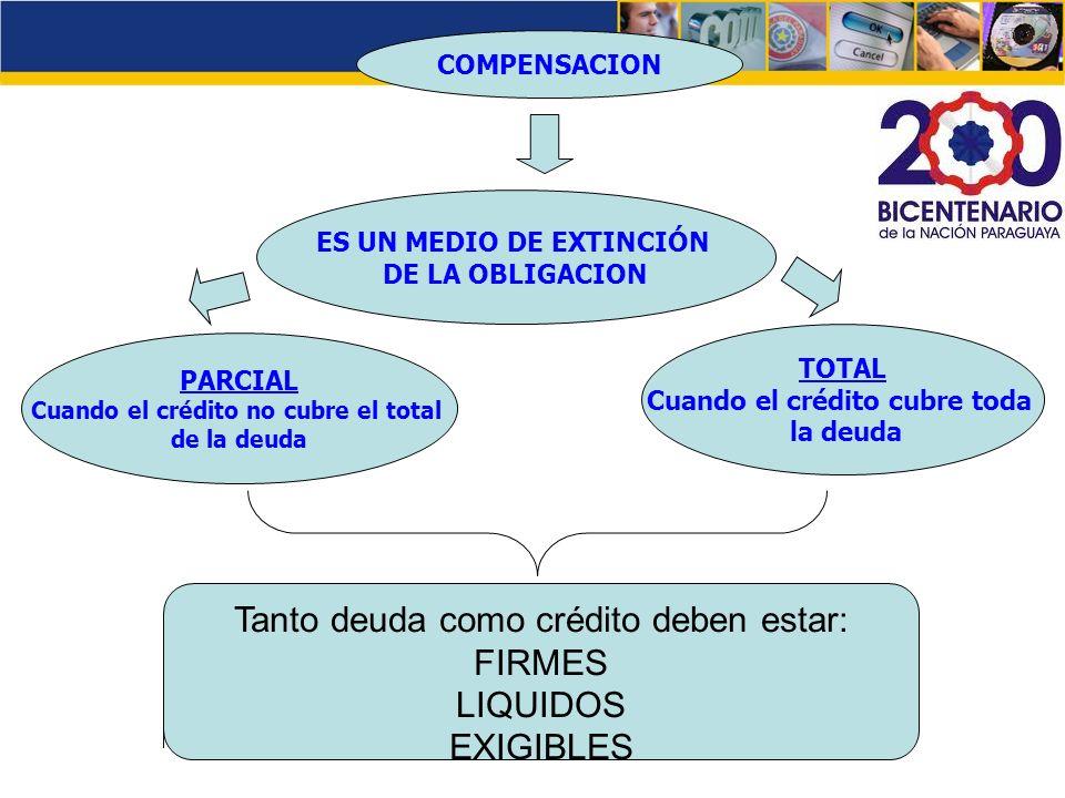 Tanto deuda como crédito deben estar: FIRMES LIQUIDOS EXIGIBLES