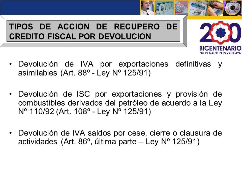 TIPOS DE ACCION DE RECUPERO DE CREDITO FISCAL POR DEVOLUCION