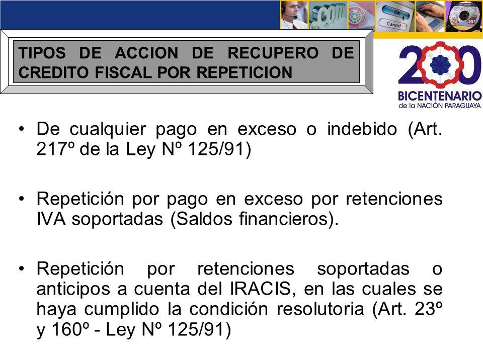De cualquier pago en exceso o indebido (Art. 217º de la Ley Nº 125/91)