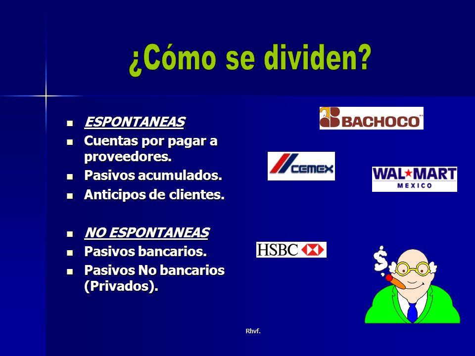 ¿Cómo se dividen ESPONTANEAS Cuentas por pagar a proveedores.