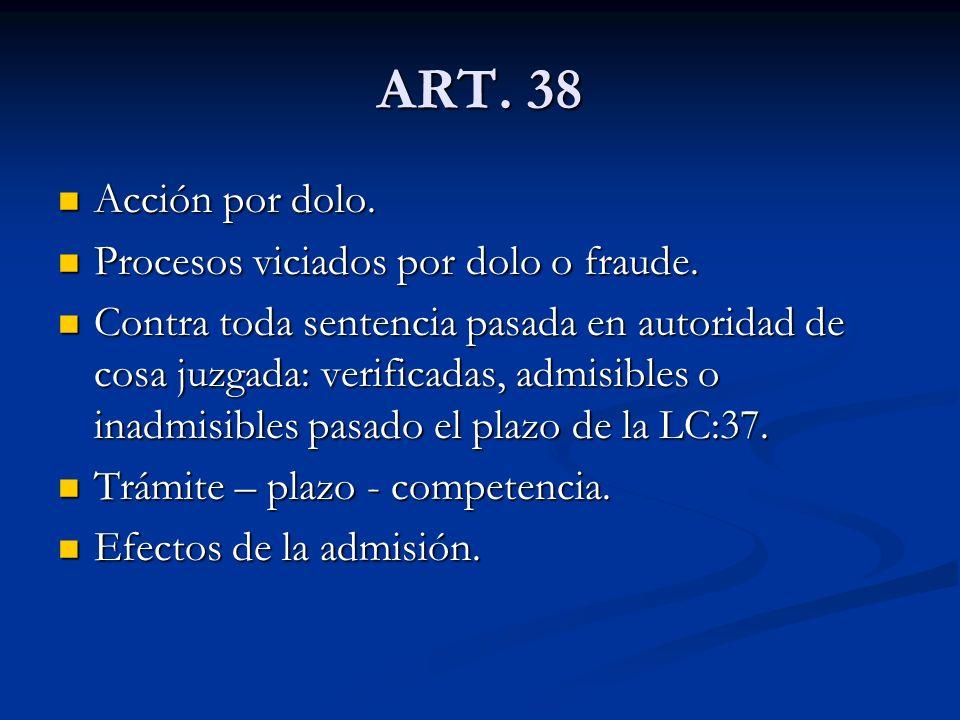ART. 38 Acción por dolo. Procesos viciados por dolo o fraude.