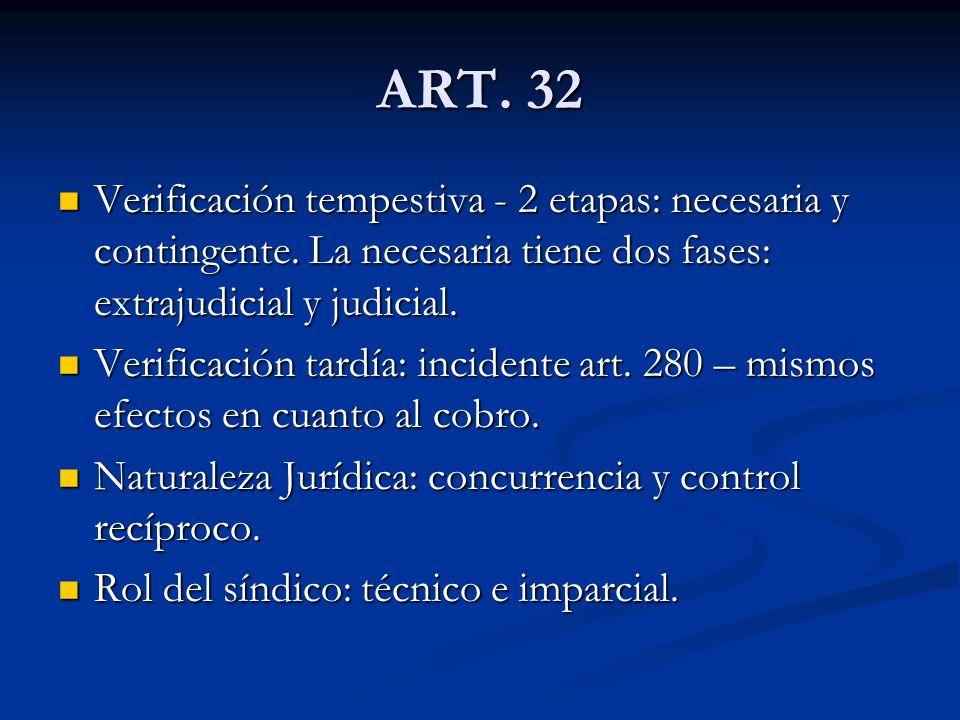 ART. 32 Verificación tempestiva - 2 etapas: necesaria y contingente. La necesaria tiene dos fases: extrajudicial y judicial.