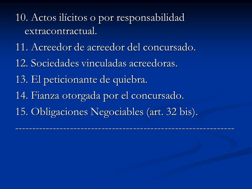 10. Actos ilícitos o por responsabilidad extracontractual.