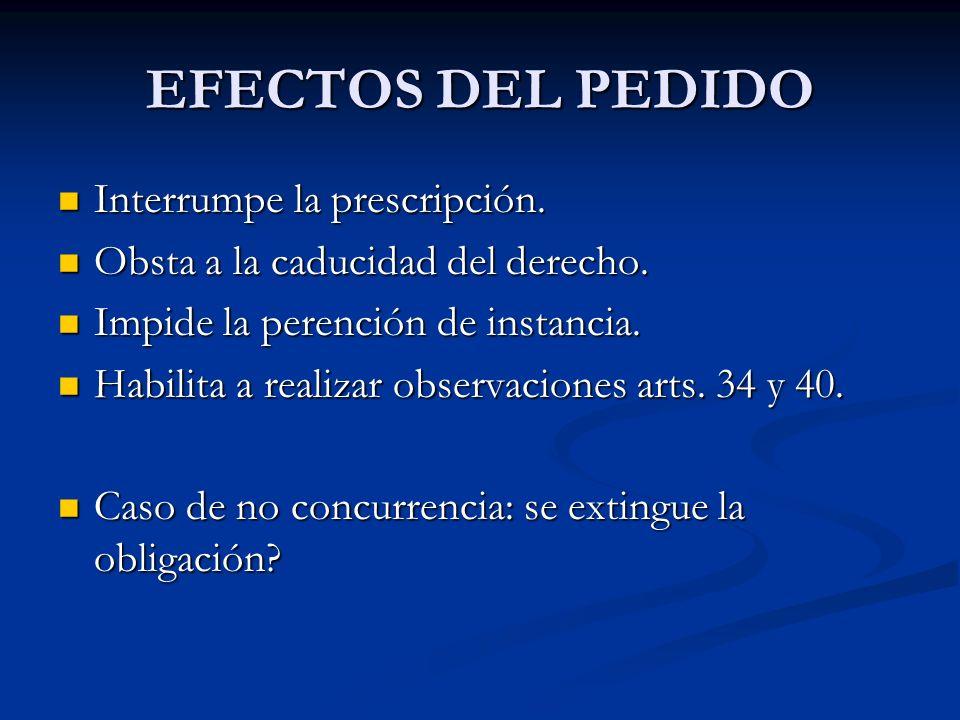 EFECTOS DEL PEDIDO Interrumpe la prescripción.