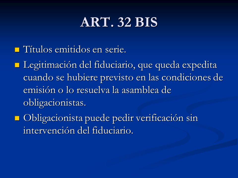 ART. 32 BIS Títulos emitidos en serie.
