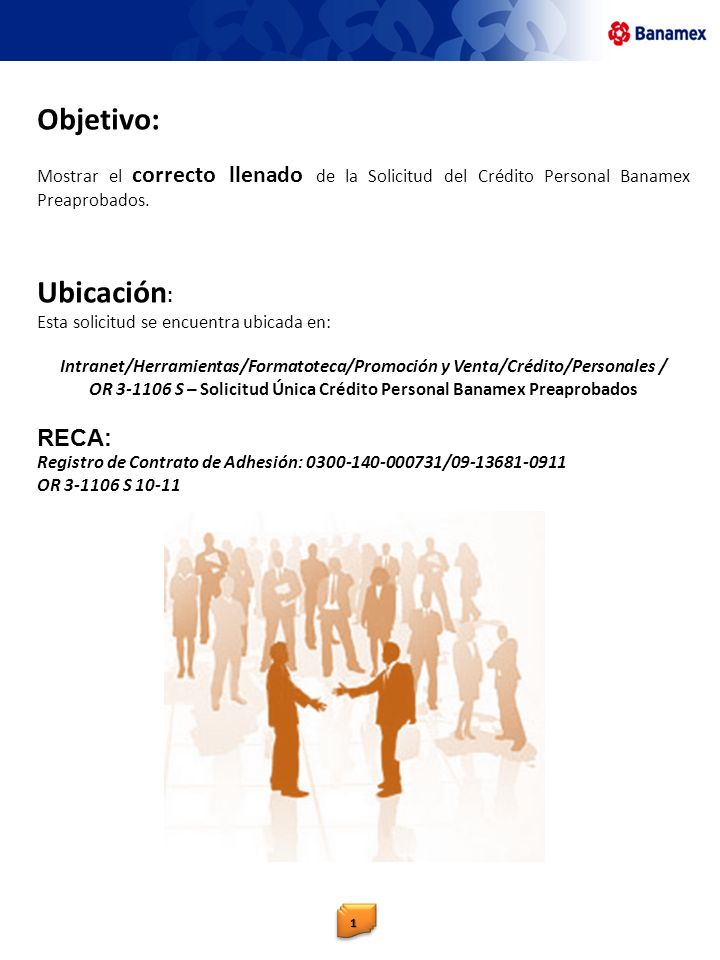 OR 3-1106 S – Solicitud Única Crédito Personal Banamex Preaprobados