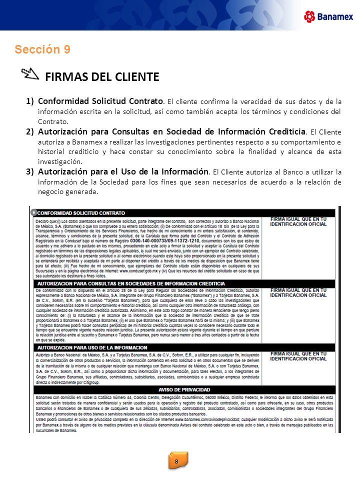FIRMAS DEL CLIENTE Sección 9