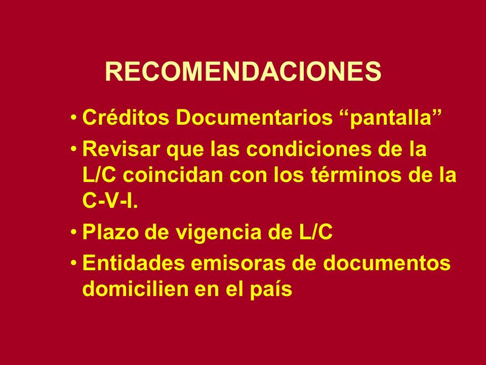 RECOMENDACIONES Créditos Documentarios pantalla