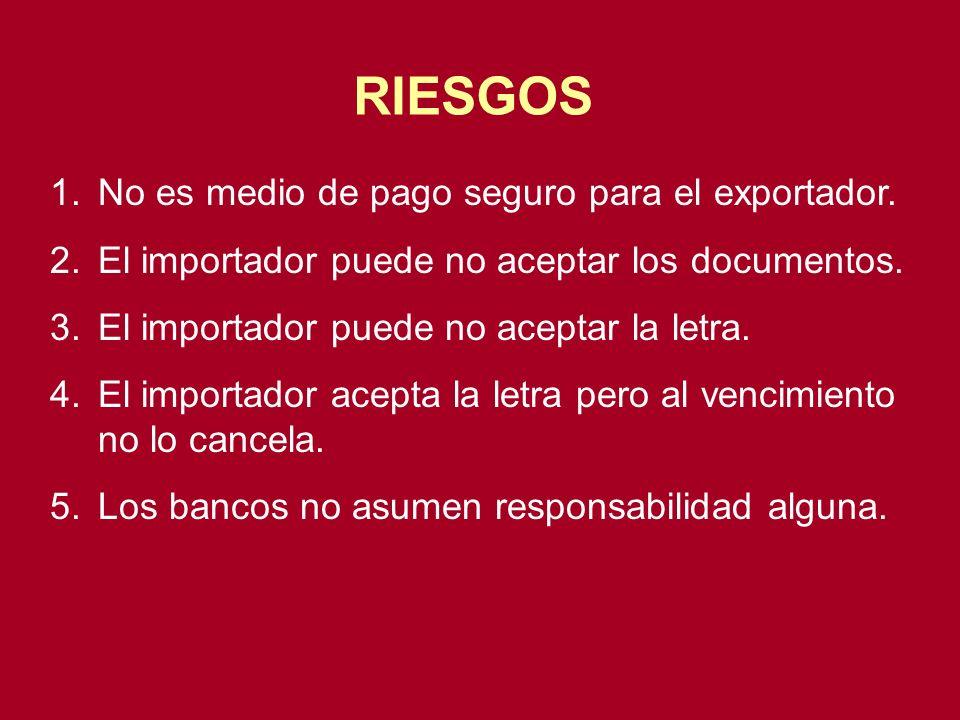 RIESGOS No es medio de pago seguro para el exportador.