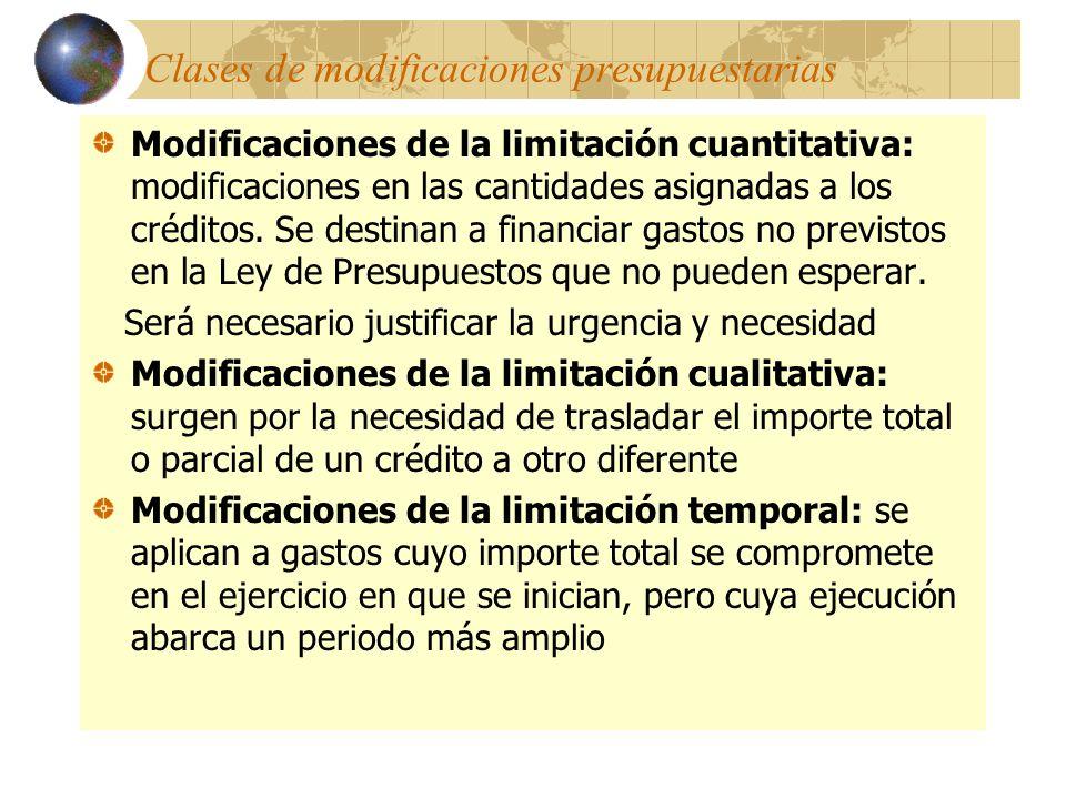 Clases de modificaciones presupuestarias