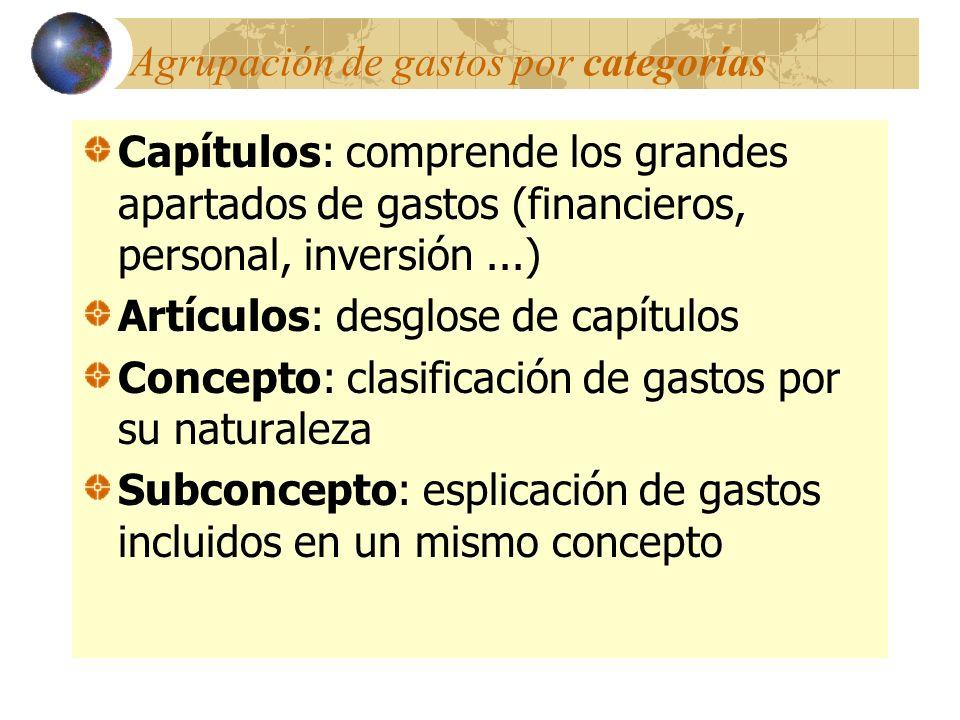 Agrupación de gastos por categorías