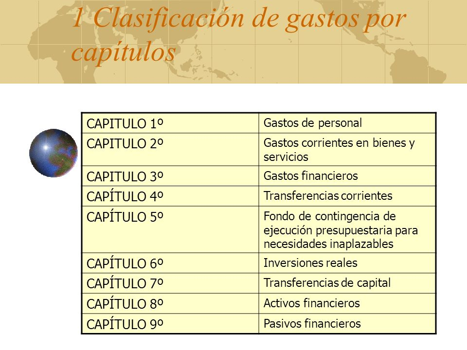 1 Clasificación de gastos por capítulos