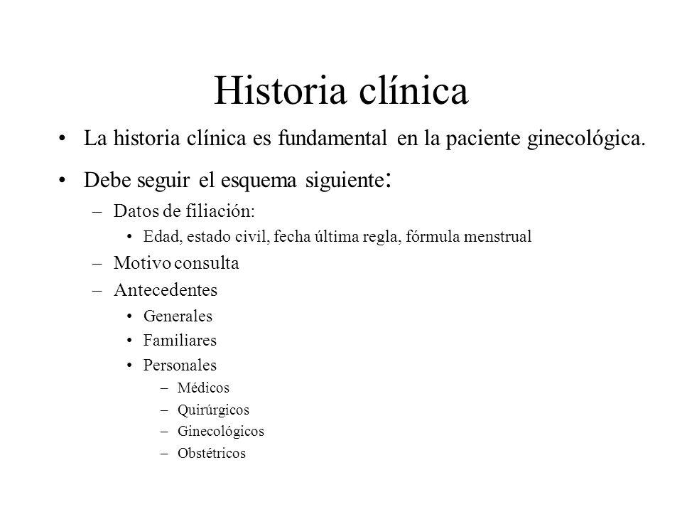 Historia clínica La historia clínica es fundamental en la paciente ginecológica. Debe seguir el esquema siguiente: