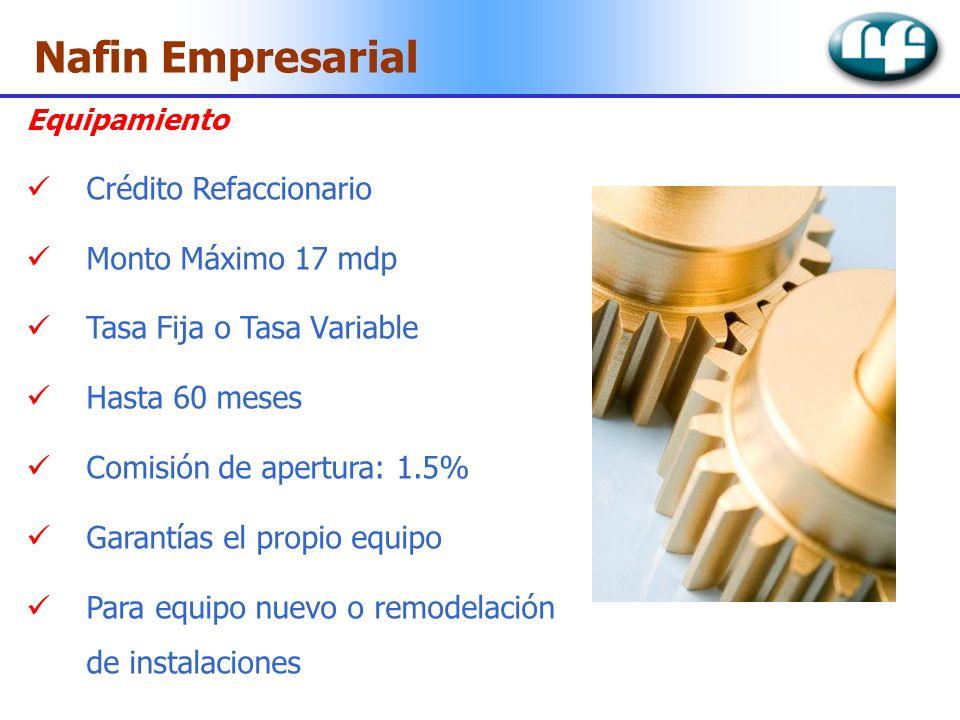 Nafin Empresarial Crédito Refaccionario Monto Máximo 17 mdp