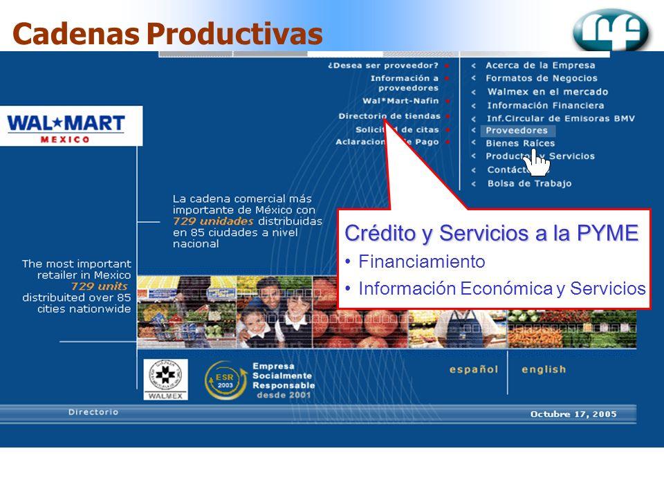 Cadenas Productivas Crédito y Servicios a la PYME Financiamiento