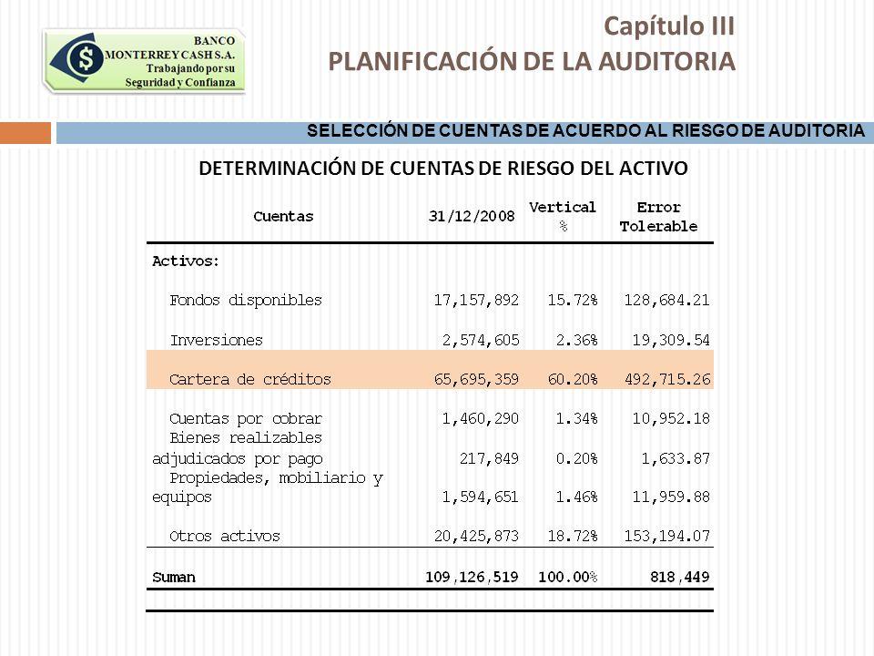 DETERMINACIÓN DE CUENTAS DE RIESGO DEL ACTIVO