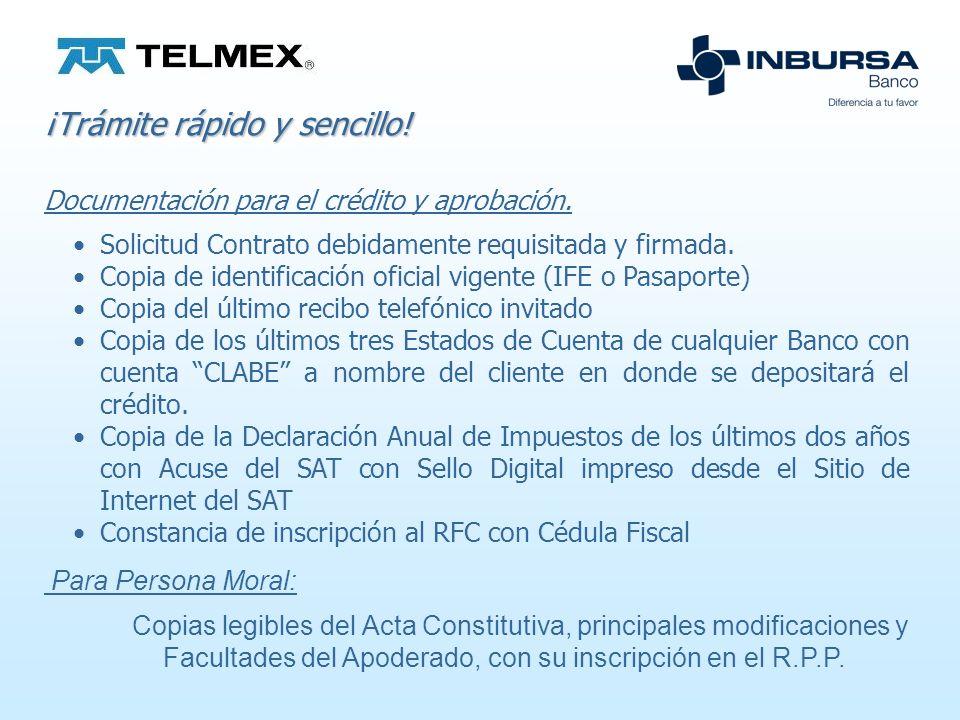 Características Crédito pre-aprobado ofrecido por TELMEX a clientes de Líneas Comerciales con buen historial de pago en su Recibo Telefónico.