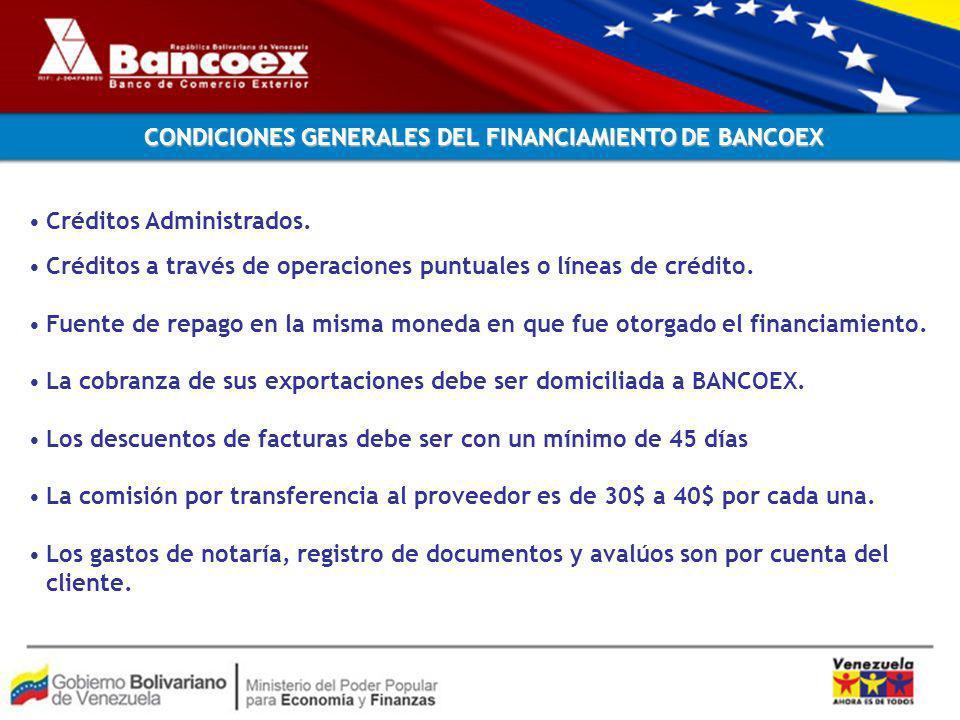 CONDICIONES GENERALES DEL FINANCIAMIENTO DE BANCOEX