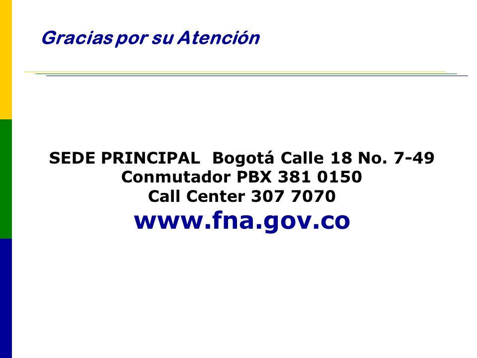 Gracias por su Atención SEDE PRINCIPAL Bogotá Calle 18 No. 7-49