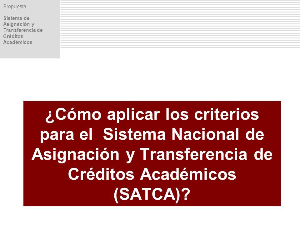 ¿Cómo aplicar los criterios para el Sistema Nacional de Asignación y Transferencia de Créditos Académicos (SATCA)