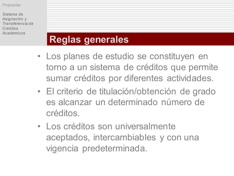 Reglas generales Los planes de estudio se constituyen en torno a un sistema de créditos que permite sumar créditos por diferentes actividades.