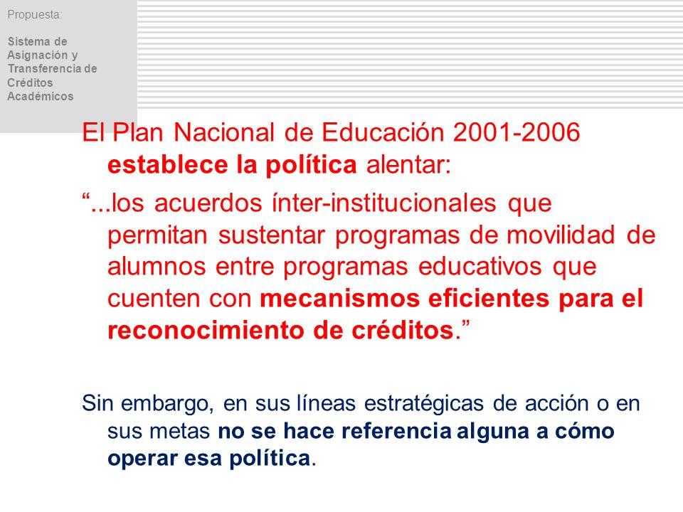 El Plan Nacional de Educación 2001-2006 establece la política alentar: