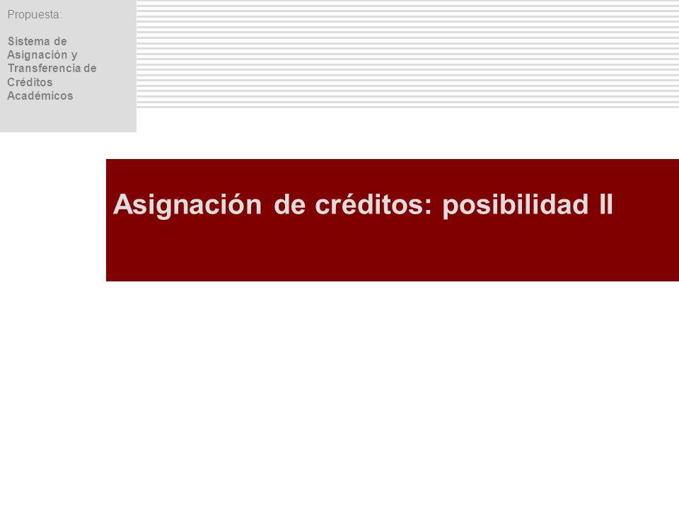 Asignación de créditos: posibilidad II