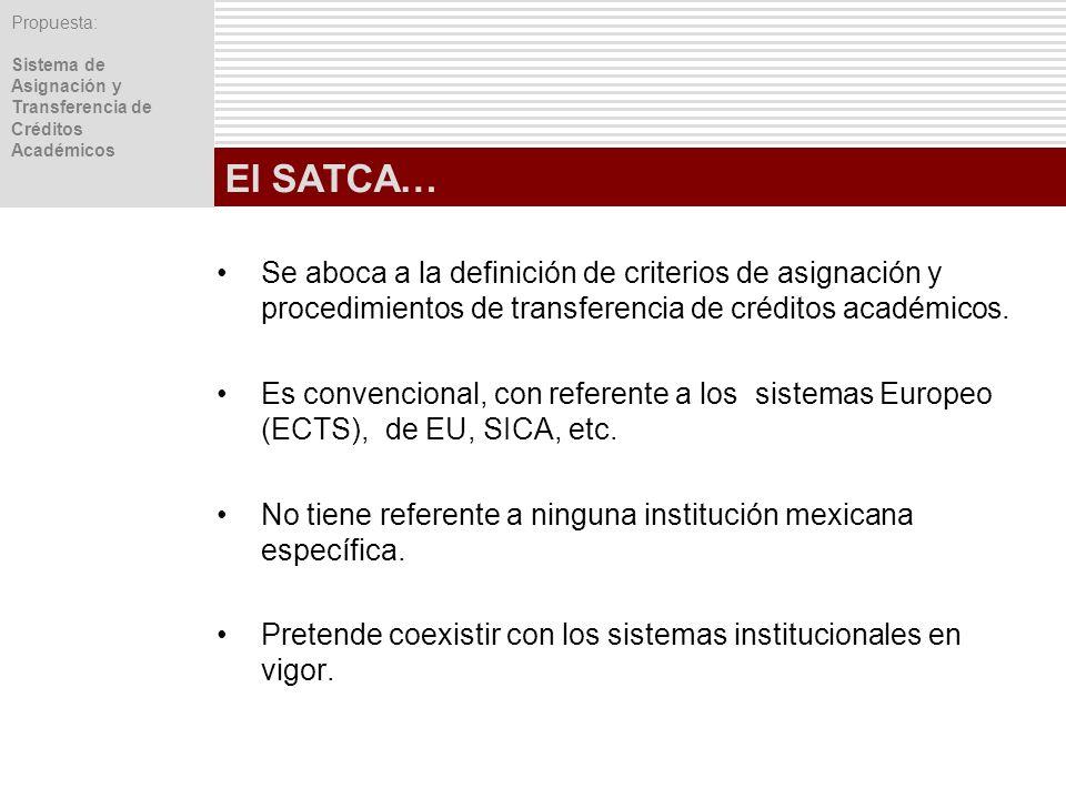 El SATCA…Se aboca a la definición de criterios de asignación y procedimientos de transferencia de créditos académicos.