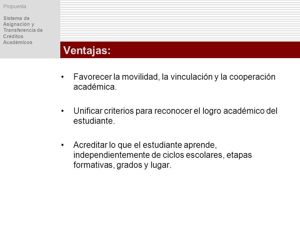 Ventajas:Favorecer la movilidad, la vinculación y la cooperación académica. Unificar criterios para reconocer el logro académico del estudiante.