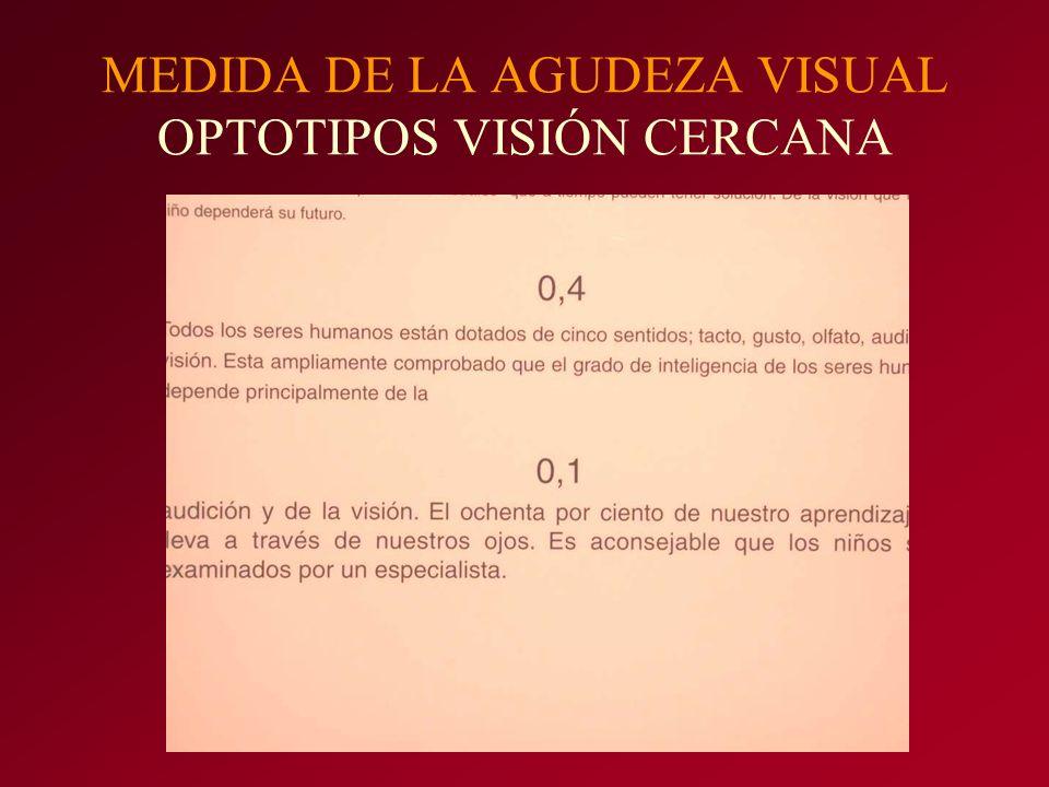 MEDIDA DE LA AGUDEZA VISUAL OPTOTIPOS VISIÓN CERCANA
