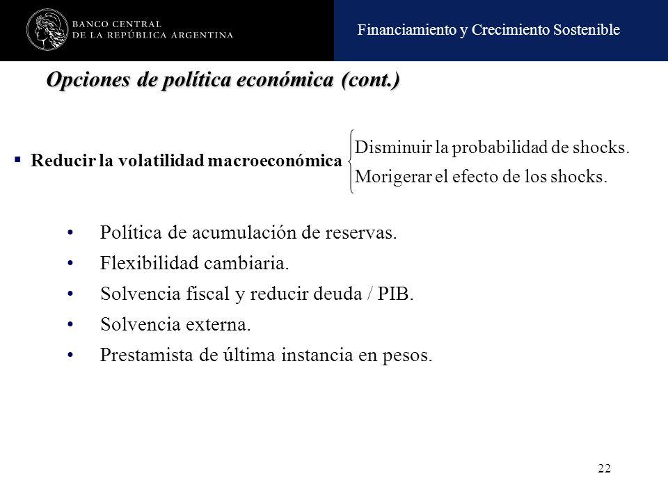 Opciones de política económica (cont.)