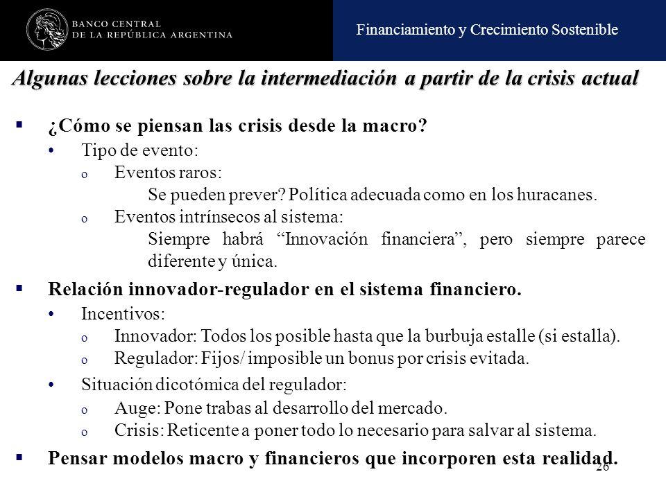 Algunas lecciones sobre la intermediación a partir de la crisis actual