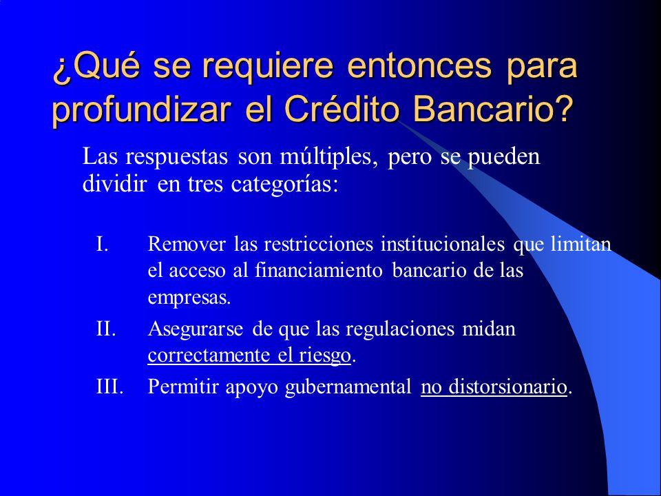 ¿Qué se requiere entonces para profundizar el Crédito Bancario