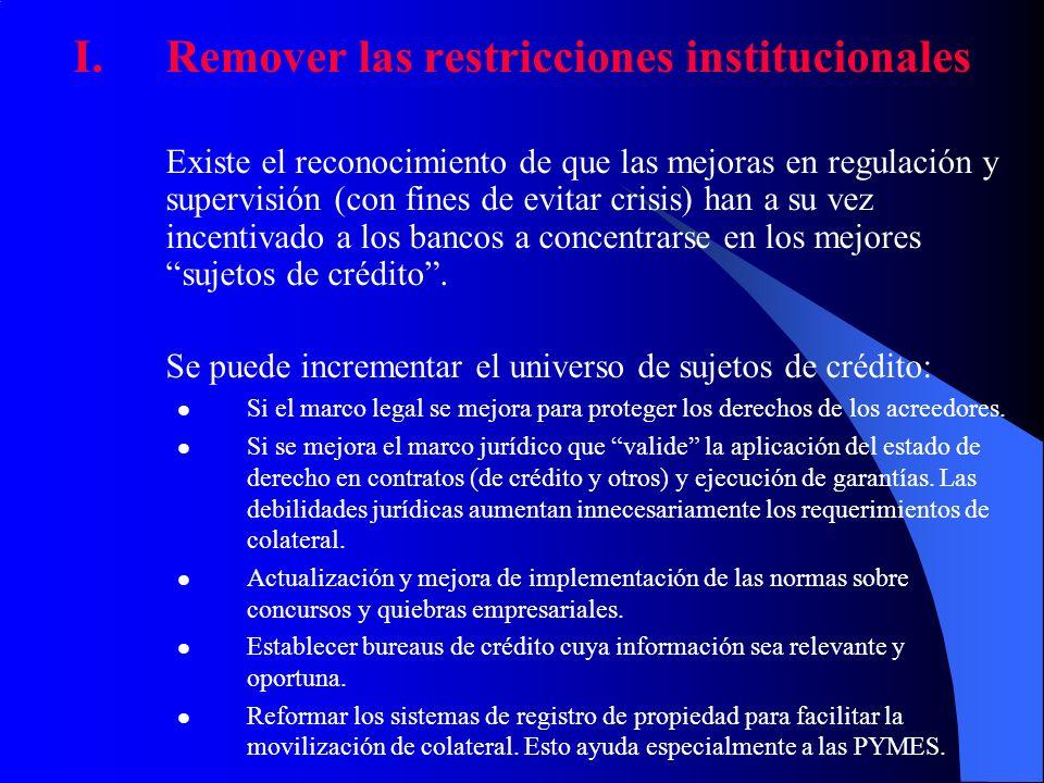 Remover las restricciones institucionales