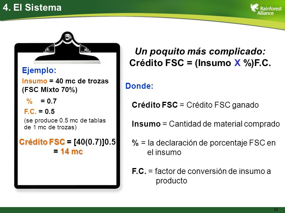 Un poquito más complicado: Crédito FSC = (Insumo X %)F.C.