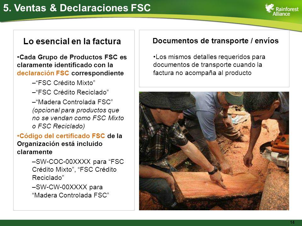 5. Ventas & Declaraciones FSC