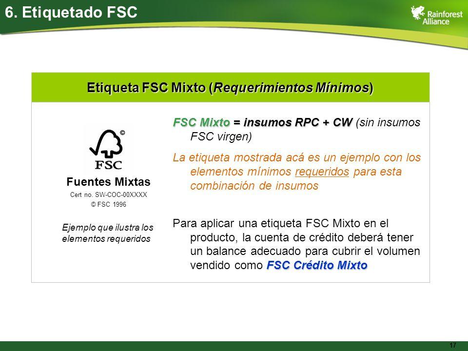 Etiqueta FSC Mixto (Requerimientos Mínimos)