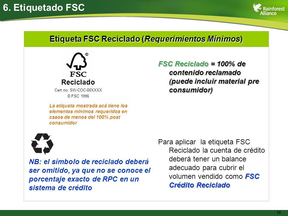 Etiqueta FSC Reciclado (Requerimientos Mínimos)