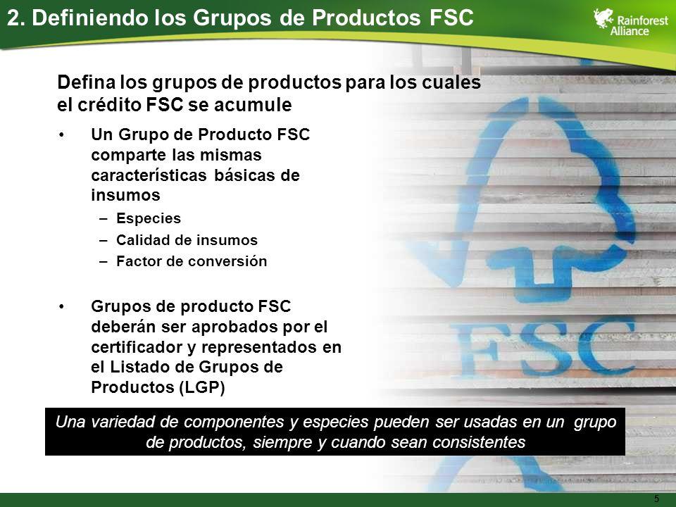 2. Definiendo los Grupos de Productos FSC