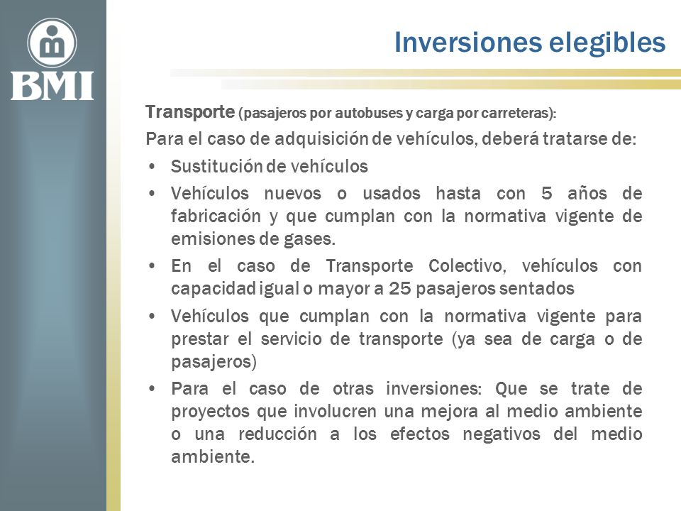 Inversiones elegibles