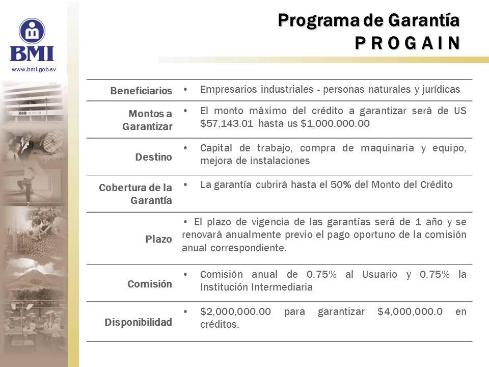 Programa de Garantía P R O G A I N