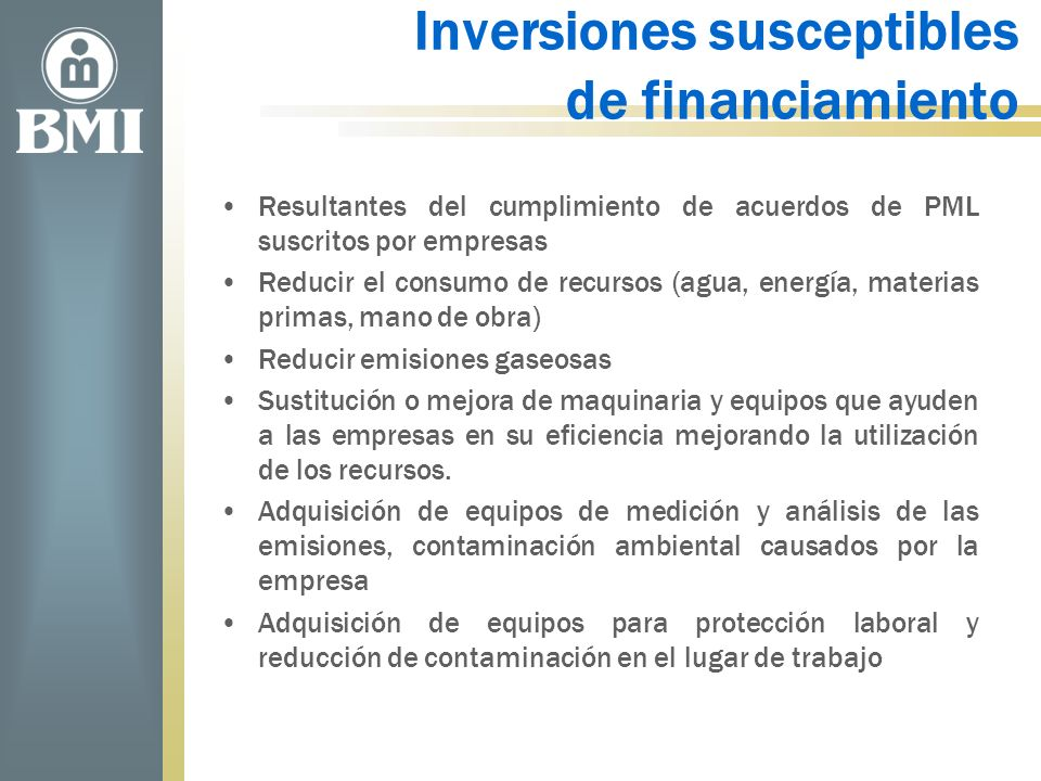Inversiones susceptibles de financiamiento
