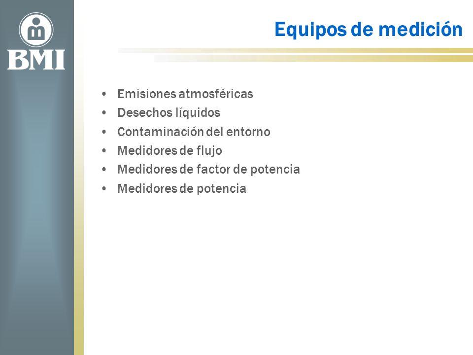 Equipos de medición Emisiones atmosféricas Desechos líquidos