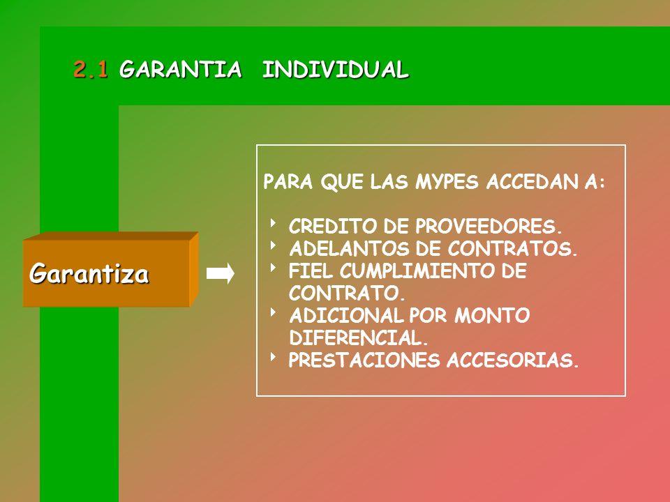 Garantiza 2.1 GARANTIA INDIVIDUAL PARA QUE LAS MYPES ACCEDAN A: