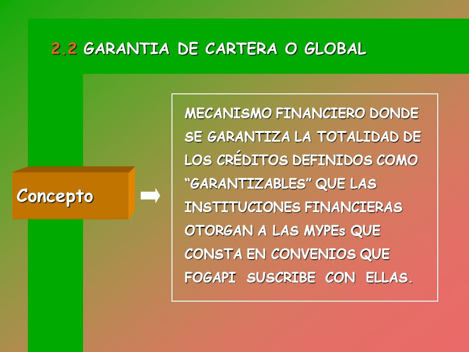 Concepto 2.2 GARANTIA DE CARTERA O GLOBAL