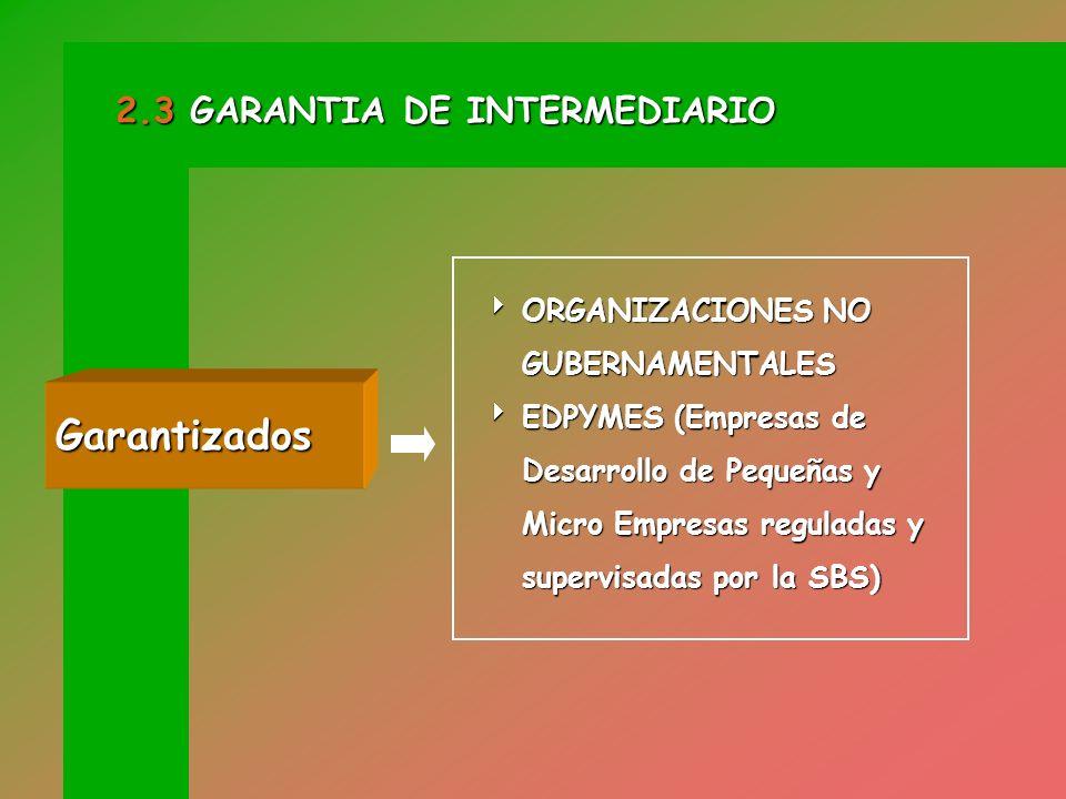 Garantizados 2.3 GARANTIA DE INTERMEDIARIO