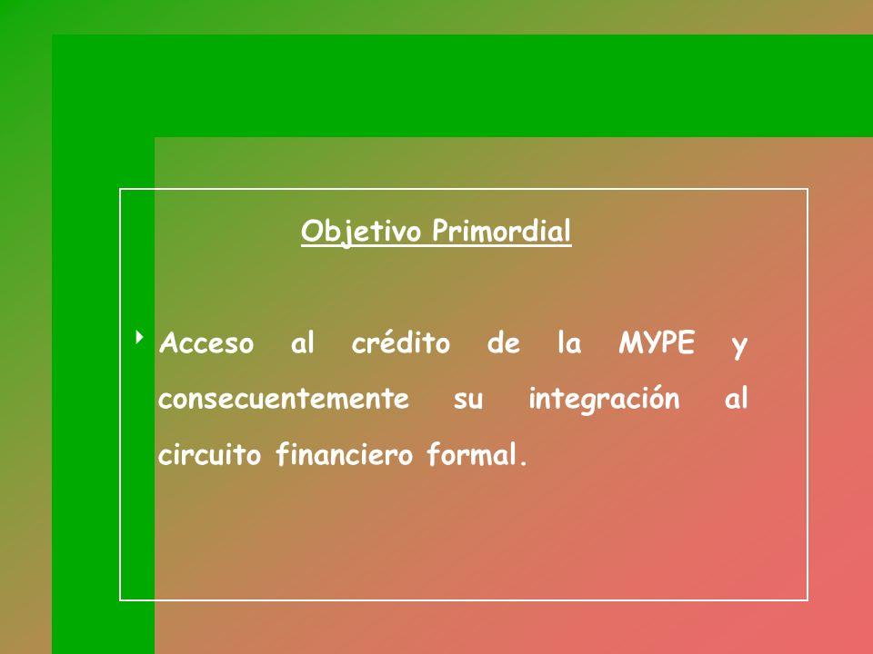 Objetivo Primordial Acceso al crédito de la MYPE y consecuentemente su integración al circuito financiero formal.